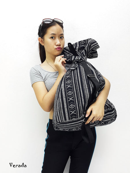 Woven Cotton Bag Single straps Backpack Hobo Boho bag Shoulder Bag Black&White (WF1), VeradaShop, HaremPantsThai