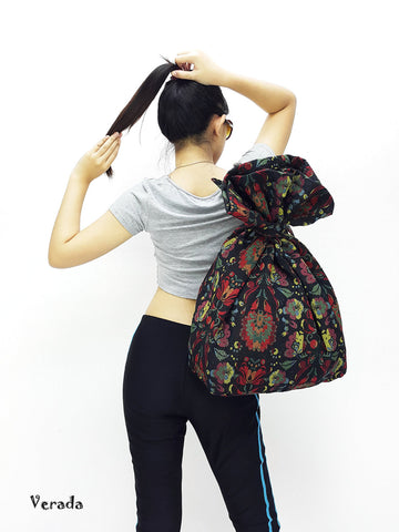 Woven Cotton Bag Single Strap Backpack Hippie bag Hobo Boho bag Tote Travel Bag Women bag Handbags Shoulder One Strap Backpack Black (WF24)