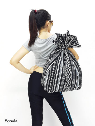 Woven Cotton Bag Single Strap Backpack Hippie Hobo bag Boho bag Tote Travel Bag Women bag Handbags Shoulder One Strap Backpack Black (WF100)