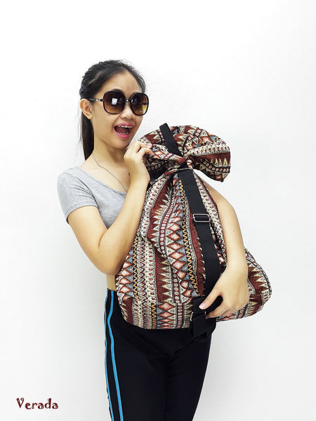 Woven Cotton Bag Single straps backpack Hobo Boho bag Shoulder Bag Brown (WF99), VeradaShop, HaremPantsThai
