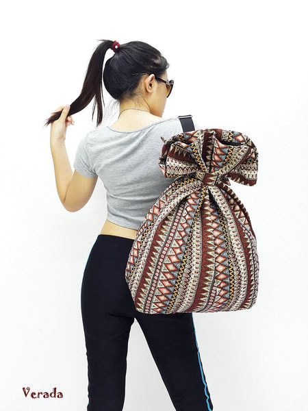 Woven Cotton Bag Single Strap Backpack Hippie bag Hobo Boho bag Tote Travel Bag Women bag Handbags Shoulder One Strap Backpack Brown (WF99)