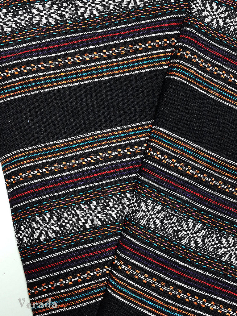 thai woven fabric tribal fabric cotton fabric by the yard ethnic fabric aztec fabric craft supplies woven textile 1 2 yard black wf101