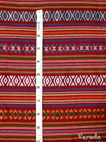 Thai Tribal Native Woven Fabric textile 1/2 yard Red Blue (FF7), VeradaCraft, HaremPantsThai