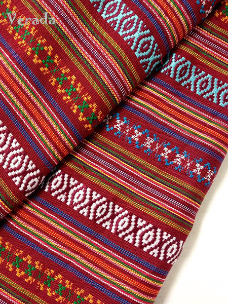 Thai woven fabric Tribal fabric naTive fabric by The yard eThnic fabric azTec fabric crafT supplies woven TexTile 1 2 yard red blue FF7