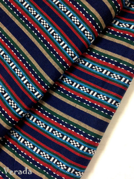 Thai woven fabric Tribal fabric naTive fabric by The yard eThnic fabric azTec fabric crafT supplies woven TexTile 1 2 yard navy blue FF8