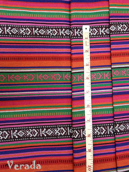 Thai Tribal Native Woven Fabric textile 1/2 yard Orange Blue (FF3), VeradaCraft, HaremPantsThai