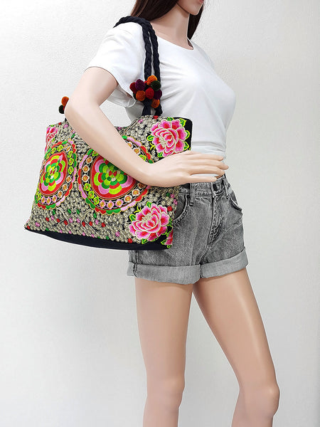 Thai Hill Tribe Bag Pom Pom Hmong Embroidered Ethnic Purse Woven Bag Hippie Bag Hobo Bag Boho Bag Shoulder Bag Tote Handbags Flower, VeradaShop, HaremPantsThai