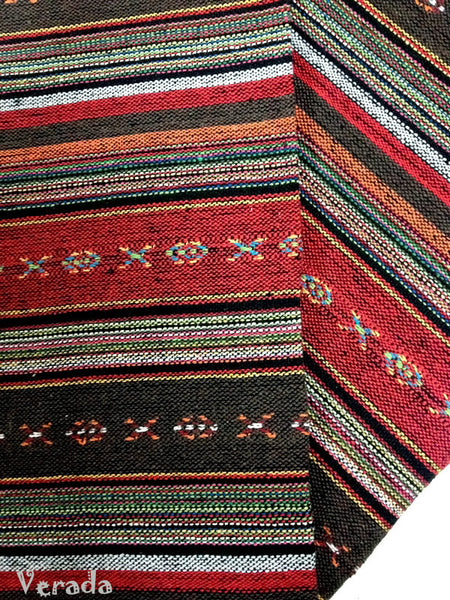 thai woven cotton fabric tribal fabric native fabric by the yard ethnic fabric aztec fabric craft supplies woven textile 1 2 yard wf38
