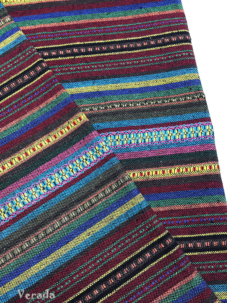 thai woven cotton fabric tribal fabric native fabric by the yard ethnic fabric aztec fabric craft supplies woven textile 1 2 yard wf112