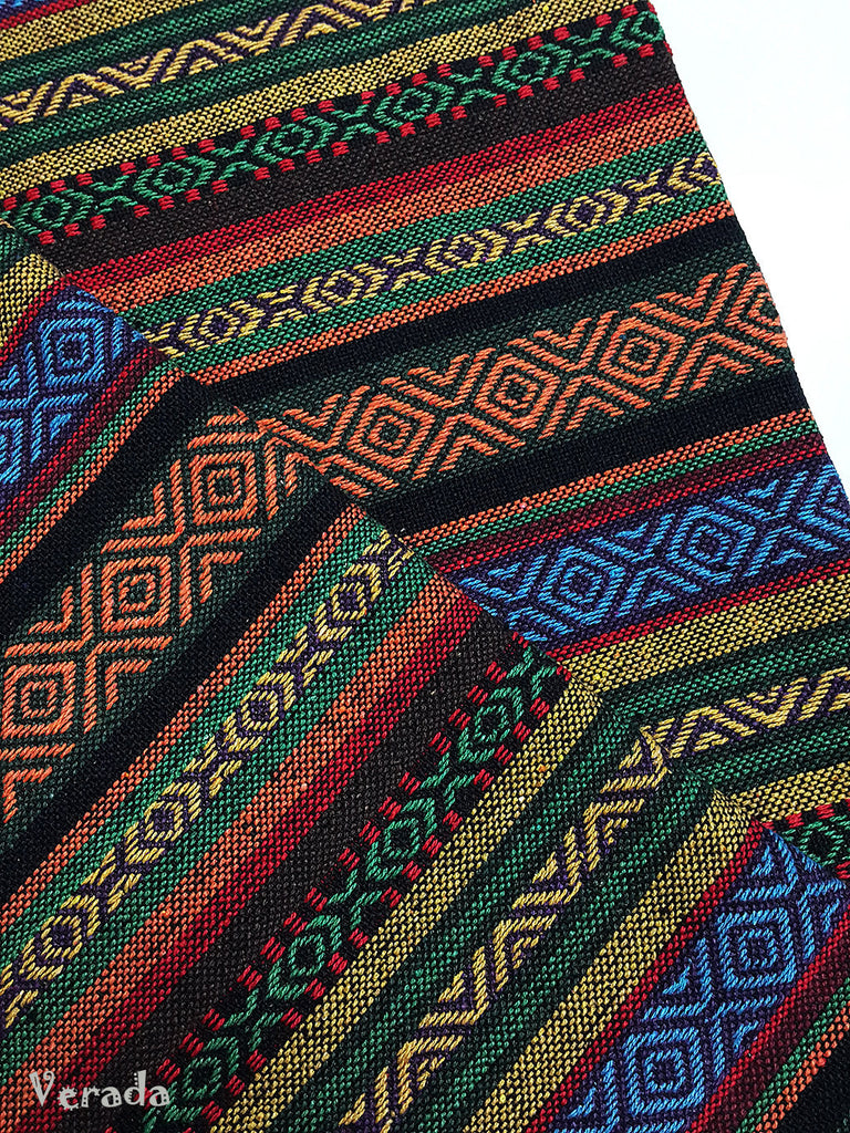 thai woven cotton fabric tribal fabric native fabric by the yard ethnic fabric aztec fabric craft supplies woven textile 1 2 yard wf114