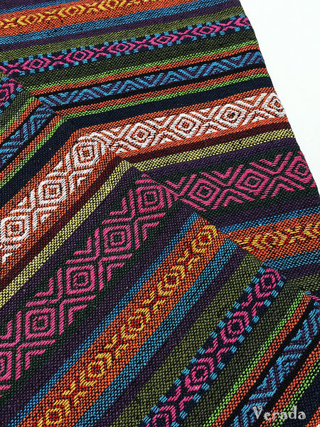 thai woven cotton fabric tribal fabric native fabric by the yard ethnic fabric aztec fabric craft supplies woven textile 1 2 yard wf115