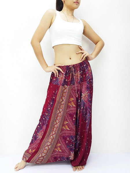SRH@27 Handmade Harem Pants Rayon Bohemian Hippie Boho Pants Feather Red