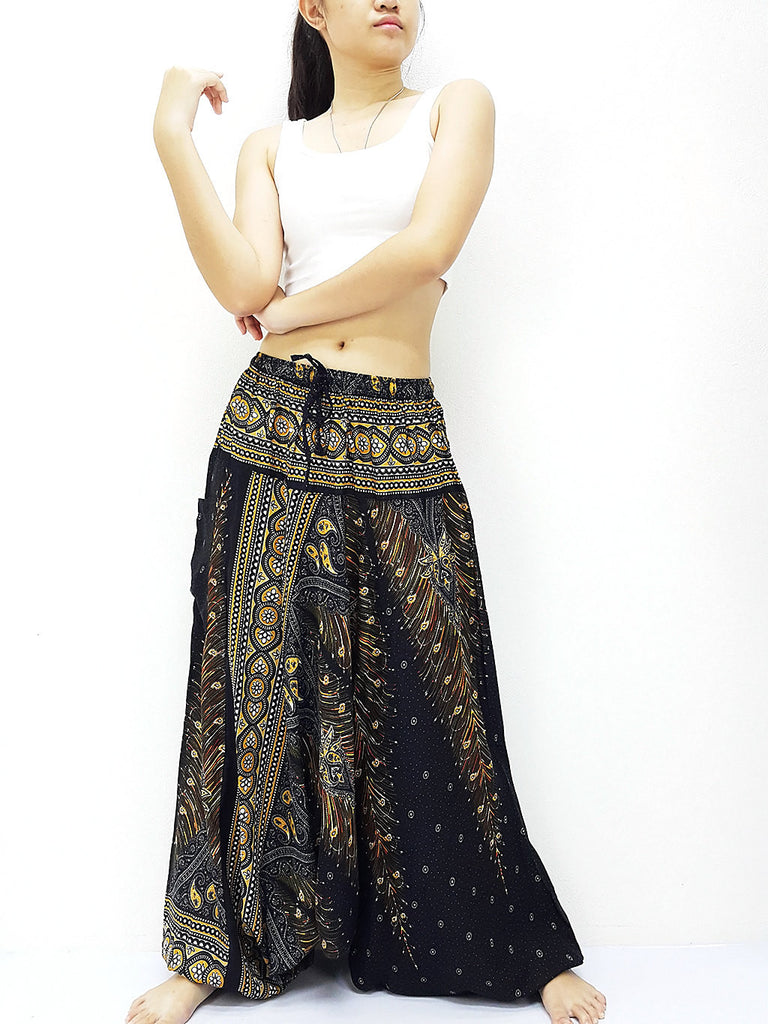 SRH@35 Handmade Harem Pants Rayon Bohemian Hippie Boho Pants Feather Black