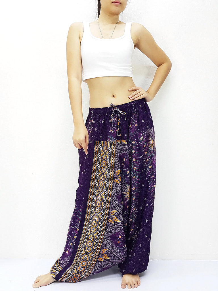 SRH@31 Handmade Harem Pants Rayon Bohemian Hippie Boho Pants Feather Purple