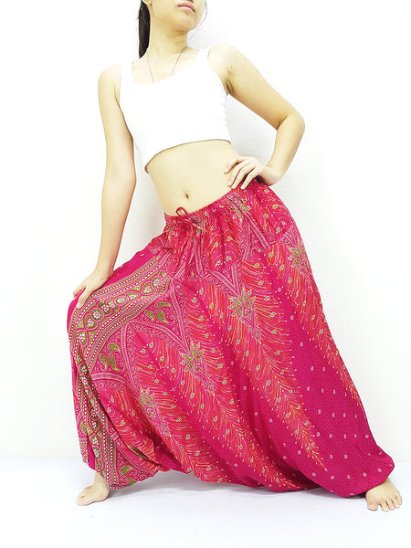 SRH@34 Handmade Harem Pants Rayon Bohemian Hippie Boho Pants Feather Pink