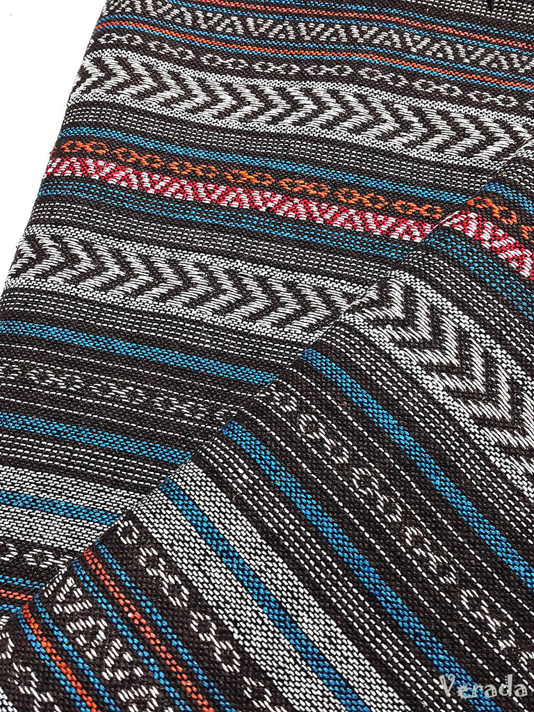 thai woven cotton fabric tribal fabric native fabric by the yard ethnic fabric aztec fabric craft supplies woven textile 1 2 yard wf121