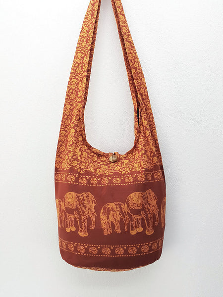 Cotton bag Elephant bag Hippie Hobo bag Boho bag Shoulder bag Sling bag Tote bag Crossbody bag Burnt Orange, VeradaShop, HaremPantsThai