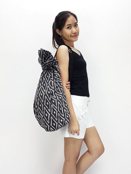 Cotton Bag Single Strap Backpack Hippie Hobo Boho bag Tote Travel Bag School bag Handbags Shoulder Bag One Strap Backpack Black, VeradaShop, HaremPantsThai