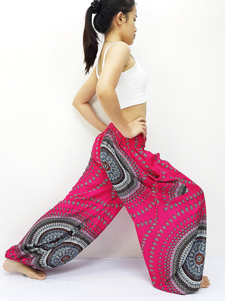 Handmade Harem Trousers Rayon Bohemian Trousers Hippie Boho Pants Hot Pink (TS180)