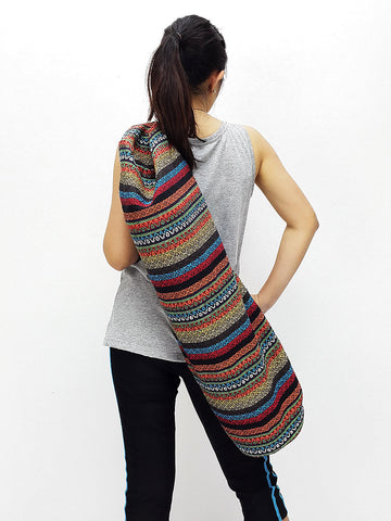 Handmade Yoga Mat Bag Yoga Bag Sports Bags Sling bag Pilates Bag Pilates Mat Bag Woven Bag Women bag Woven Cotton bag Unisex bag (L-WF104)