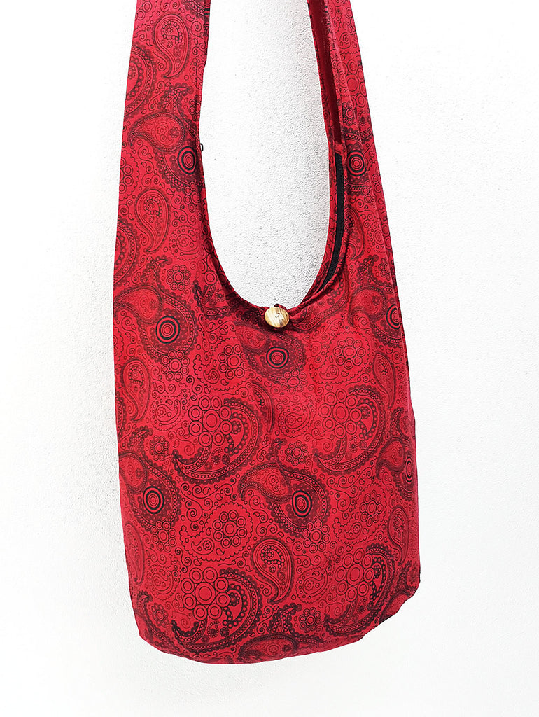 Cotton Handbags Hippie bag Hobo bag Boho bag Shoulder bag Sling bag Tote bag Crossbody bag Paisley Red, VeradaShop, HaremPantsThai