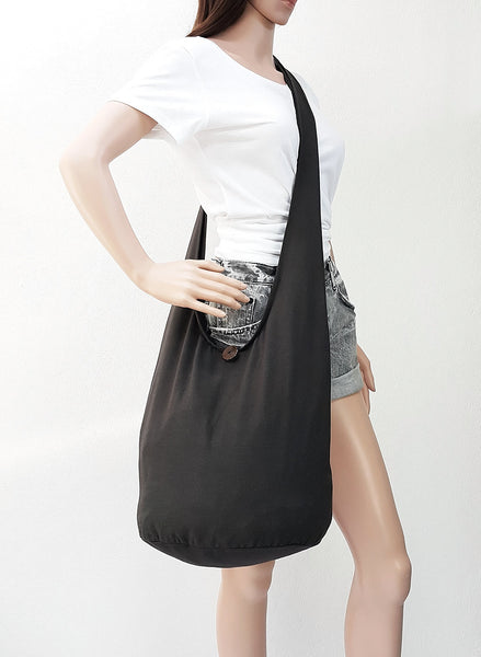 Cotton Handbags Hippie bag Hobo bag Boho bag Shoulder bag Sling bag Tote bag Crossbody bag Dark Gray, VeradaShop, HaremPantsThai