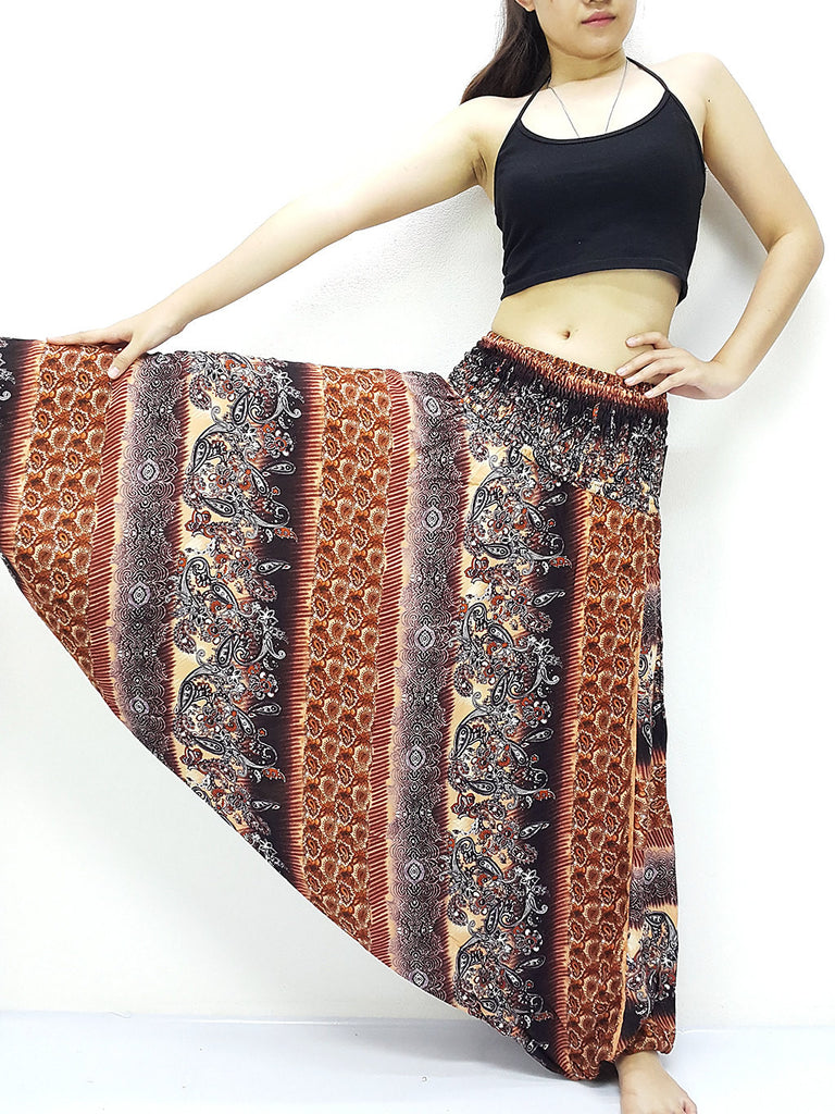 Handmade Harem Pants Yoga Pants Aladdin Pants Boho Pants Gypsy Jumpsuits Boho Pants Brown (HP206)