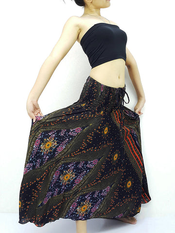 Thai Women Clothing Natural Cotton Convertible Dresses Skirts Black (DS79)