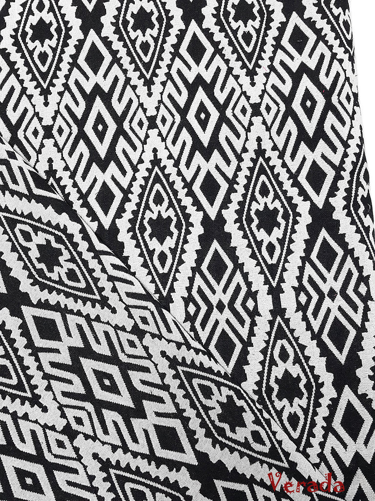 woven cotton fabric tribal fabric native fabric by the yard ethnic fabric aztec craft supplies woven textile 1 2 yard black white wf143