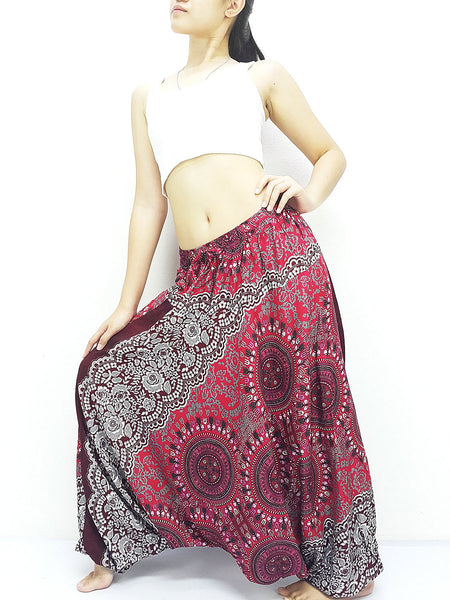 SRH@39 Handmade Harem Pants Rayon Bohemian Hippie Boho Pants Flower Dark Red Gray