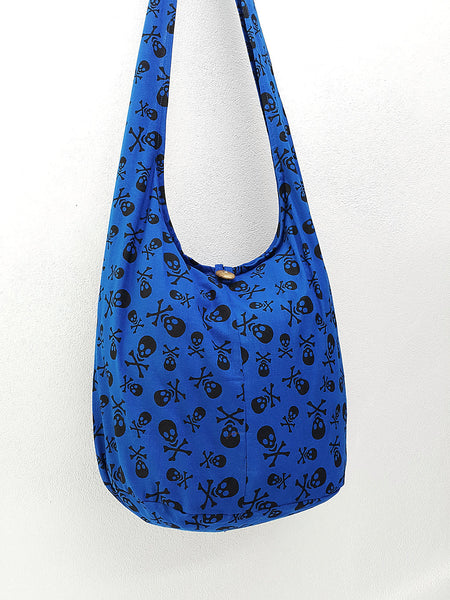 Cotton Handbags Skeleton Hippie Hobo bag Boho bag Shoulder bag Sling bag Tote bag Crossbody bag Dark Blue, VeradaShop, HaremPantsThai
