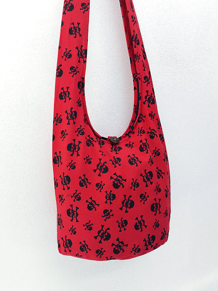Cotton Handbags Skeleton Hippie Hobo bag Boho bag Shoulder bag Sling bag Tote bag Crossbody bag Red, VeradaShop, HaremPantsThai