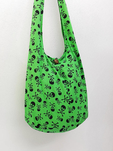 Cotton Handbags Skeleton Hippie Hobo bag Boho bag Shoulder bag Sling bag Tote bag Crossbody bag Green, VeradaShop, HaremPantsThai