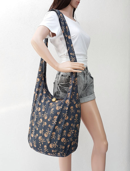 Cotton Handbags Skeleton Hippie Hobo bag Boho bag Shoulder bag Sling bag Tote bag Crossbody bag Gray, VeradaShop, HaremPantsThai