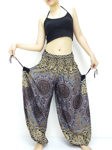 Handmade Harem Trousers Rayon Bohemian Trousers Hippie Boho Pants Hive Gray Brown (TS215)