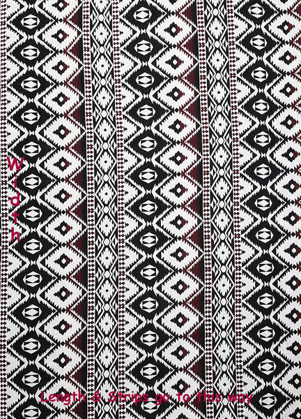 Woven Cotton Tribal Fabric Aztec Textile 1/2 yard Black White (WF146), VeradaCraft, HaremPantsThai