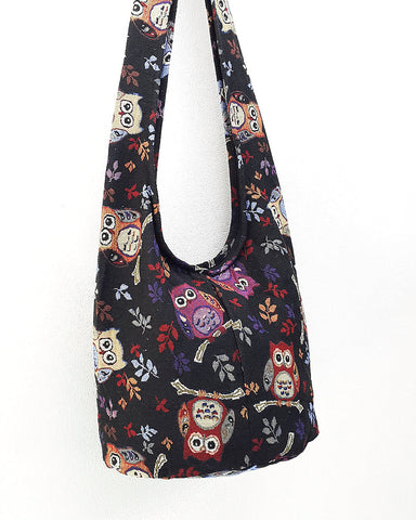 Woven Bag Hippie bag Hobo Boho bag Shoulder bag Sling bag bag Tote Crossbody bag Women bag Handbags Long Strap Owl Black