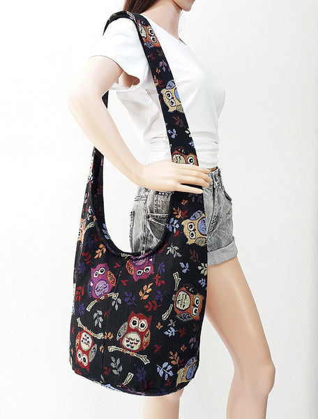 Woven bag Hobo Boho bag Shoulder Bag Sling bag Crossbody bag Long straps Owl Black, VeradaShop, HaremPantsThai