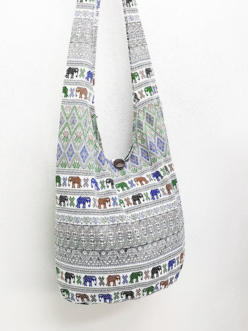 Cotton Handbags Elephant bag Hippie Hobo bag Boho bag Shoulder bag Sling bag Tote bag Crossbody bag White, VeradaShop, HaremPantsThai