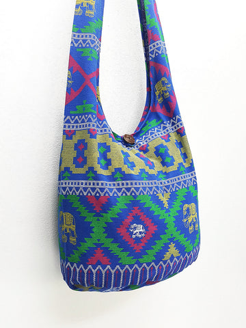 Cotton Handbags Elephant bag Hippie Hobo bag Boho bag Shoulder bag Sling bag Tote bag Crossbody bag Blue, VeradaShop, HaremPantsThai