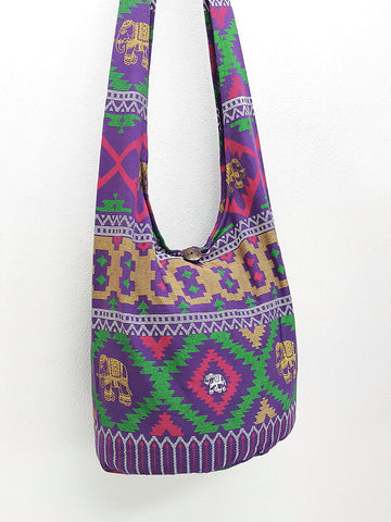 Cotton Handbags Elephant bag Hippie Hobo bag Boho bag Shoulder bag Sling bag Tote bag Crossbody bag Purple, VeradaShop, HaremPantsThai