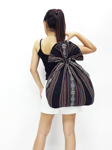 Woven Cotton Bag One Strap Single Strap Backpack Hippie Hobo Boho bag Tote Travel Bag School bag Women bag Handbags Shoulder Black (WF101)