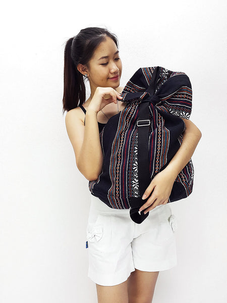 Woven Cotton Bag One straps Single straps Backpack Hobo Boho bag Shoulder School Bag Black (WF101), VeradaShop, HaremPantsThai
