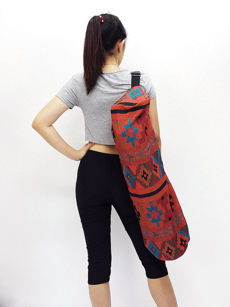 Handmade Yoga Mat Bag Yoga Bag Sports Bags Sling bag Pilates Bag Pilates Mat Bag Woven Bag Women bag Woven Cotton bag Unisex bag (L-WF25)