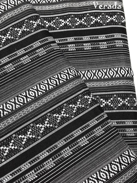 Thai woven fabric Tribal fabric naTive fabric by The yard eThnic fabric azTec fabric crafT supplies woven TexTile 1 2 yard black whiTeFF11
