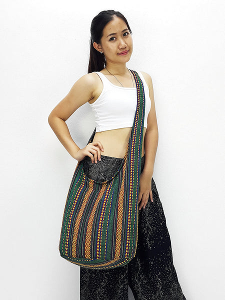 Woven Cotton bag Hobo Boho bag Shoulder Bag Sling bag Crossbody bag Long straps, VeradaShop, HaremPantsThai