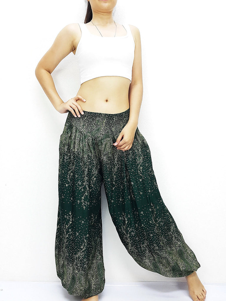 SRT@35 Thai Women Clothing Comfy Rayon Bohemian Trousers Hippie Baggy Genie Boho Pants Paisley Green