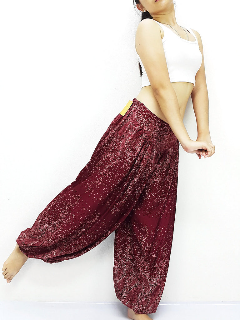 SRT@37 Thai Women Clothing Comfy Rayon Bohemian Trousers Hippie Baggy Genie Boho Pants Paisley Red