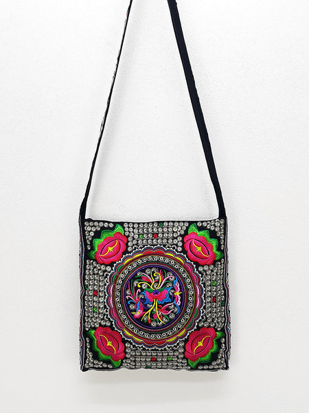 Thai Hill Tribe Bag Hmong Embroidered Ethnic Purse Woven Bag Hobo Bag Boho Bag Shoulder Bag Sling bag Crossbody Bag Handbags, VeradaShop, HaremPantsThai