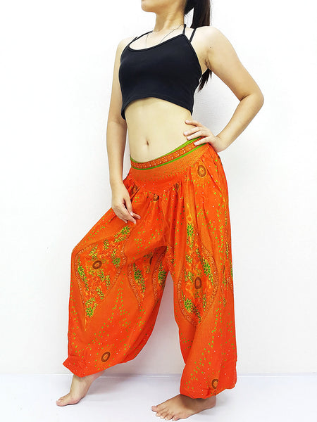 SRT@39 Thai Women Clothing Comfy Rayon Bohemian Trousers Hippie Baggy Genie Boho Pants Orange